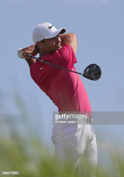 Jason Day of Australia plays his shot from the seventh tee during the first round of the 2017 US Open at Erin Hills on June 15 2017 in Hartford...
