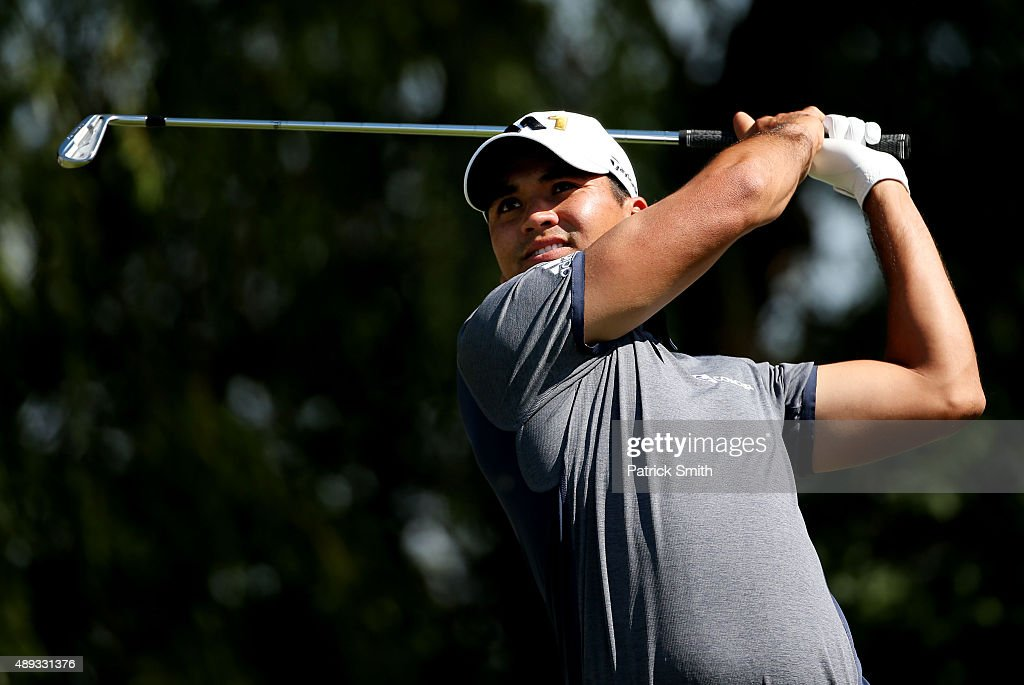Jason Day of Australia plays his shot from the sixth tee during the Final Round of the BMW Championship at Conway Farms Golf Club on September 20...