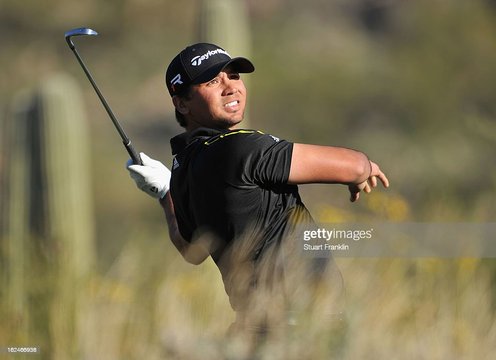 <a gi-track='captionPersonalityLinkClicked' href=/galleries/search?phrase=Jason+Day+-+Golfer&family=editorial&specificpeople=4534484 ng-click='$event.stopPropagation()'>Jason Day</a> of Australia plays his te shot on the 16th hole during the quarterfinal round of the World Golf Championships - Accenture Match Play at the Golf Club at Dove Mountain on February 23, 2013 in Marana, Arizona.