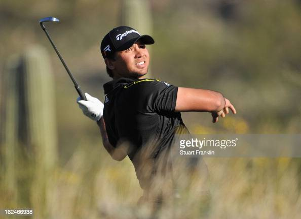 Jason Day of Australia plays his te shot on the 16th hole during the quarterfinal round of the World Golf Championships Accenture Match Play at the...