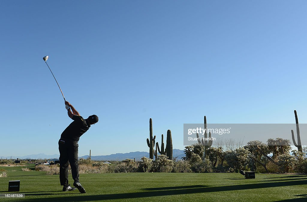 Jason Day of Australia plays his te shot on the 17th hole during the quarterfinal round of the World Golf Championships - Accenture Match Play at the Golf Club at Dove Mountain on February 23, 2013 in Marana, Arizona.