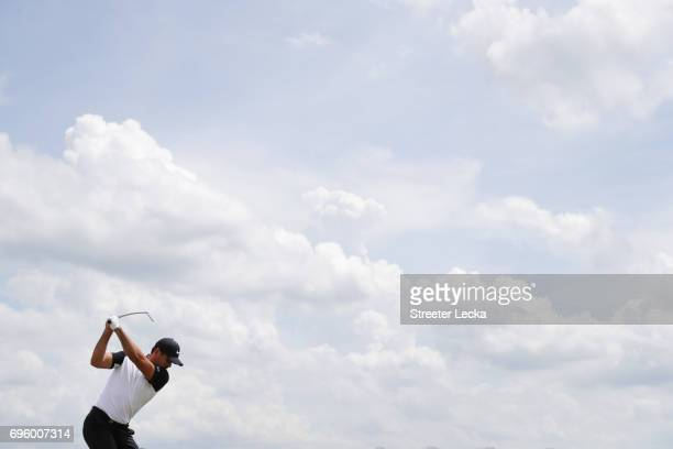 Jason Day of Australia plays his tee shot during a practice round prior to the 2017 US Open at Erin Hills on June 14 2017 in Hartford Wisconsin