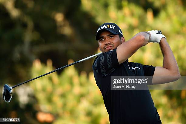 Jason Day of Australia plays his tee shot on the second hole during the final round of the ATT Pebble Beach National ProAm at the Pebble Beach Golf...