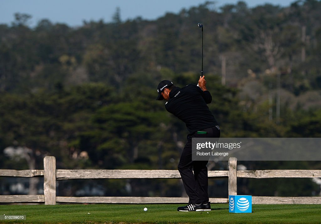<a gi-track='captionPersonalityLinkClicked' href=/galleries/search?phrase=Jason+Day+-+Golfer&family=editorial&specificpeople=4534484 ng-click='$event.stopPropagation()'>Jason Day</a> of Australia plays his tee shot on the seventh hole during the final round of the AT&T Pebble Beach National Pro-Am at the Pebble Beach Golf Links on February 14, 2016 in Pebble Beach, California.