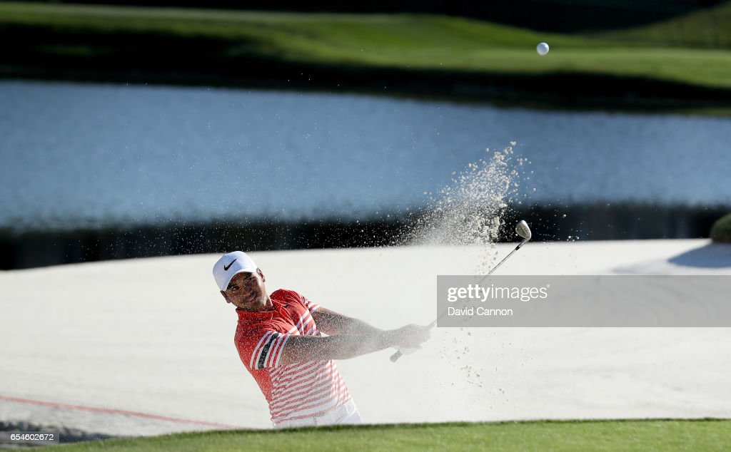 Jason Day of Australia plays his third shot at the par 3, 17th hole during the second round of the 2017 Arnold Palmer Invitational presented by MasterCard on March 17, 2017 in Orlando, Florida.