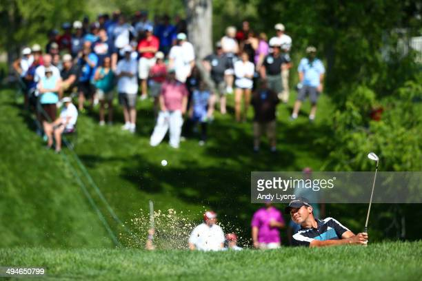 Jason Day of Australia plays his third shot on the 18th hole during the second round of the Memorial Tournament presented by Nationwide Insurance at...