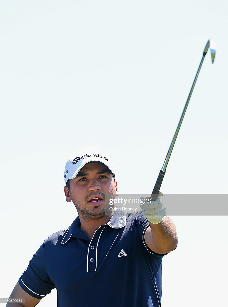 Jason Day of Australia points during practice ahead of the World Cup Of Golf at Royal Melbourne Golf Course on November 18, 2013 in Melbourne, Australia.