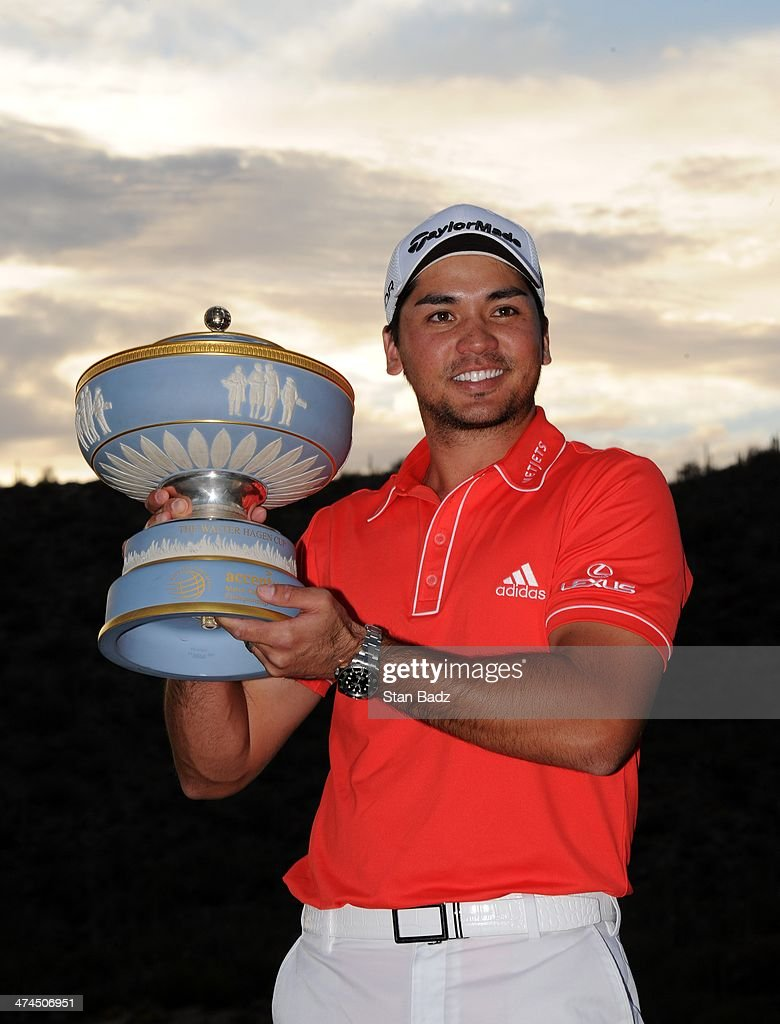 Jason Day of Australia poses with the Walter Hagen Trophy after winning World Golf ChampionshipsAccenture Match Play Championship at The Golf Club at...