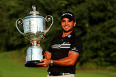 Jason Day of Australia poses with the Wanamaker Trophy after winning the 2015 PGA Championship with a score of 20under par at Whistling Straits on...