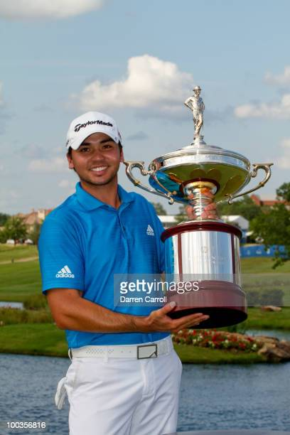 Jason Day of Australia poses with the WInner's Trophy following the fourth round of the HP Byron Nelson Championship at TPC Four Seasons Resort Las...
