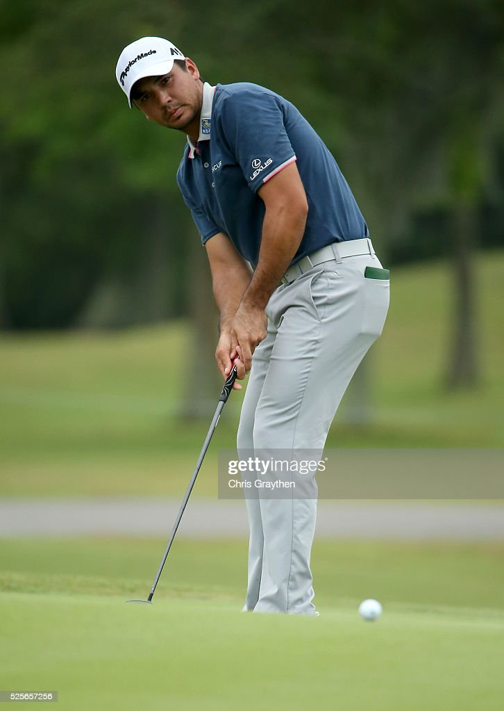 Jason Day of Australia putts on the ninth hole during the first round of the Zurich Classic of New Orleans at TPC Louisiana on April 28, 2016 in Avondale, Louisiana.