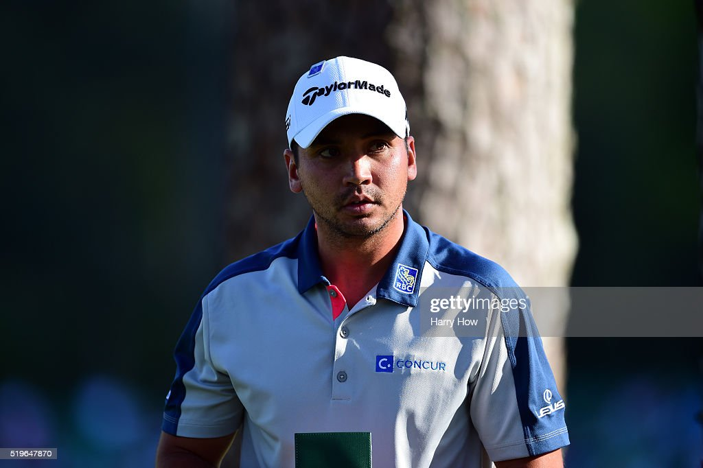 Jason Day of Australia reacts after a triple bogey on the 16th hole during the first round of the 2016 Masters Tournament at Augusta National Golf...