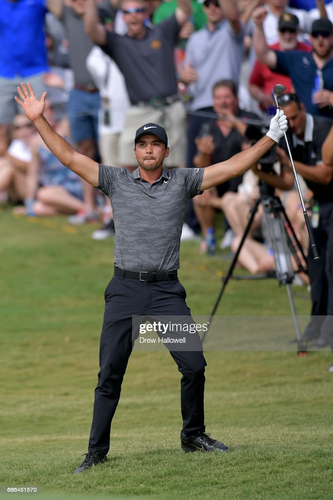 Jason Day of Australia reacts after chipping in for a birdie on the 15th hole during the Final Round of the AT&T Byron Nelson at the TPC Four Seasons Resort Las Colinas on May 21, 2017 in Irving, Texas.