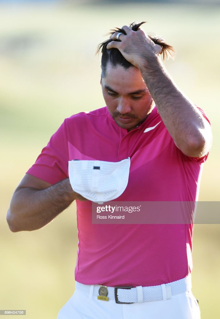 Jason Day of Australia reacts after finishing on the 18th green during the first round of the 2017 U.S. Open at Erin Hills on June 15, 2017 in Hartford, Wisconsin.