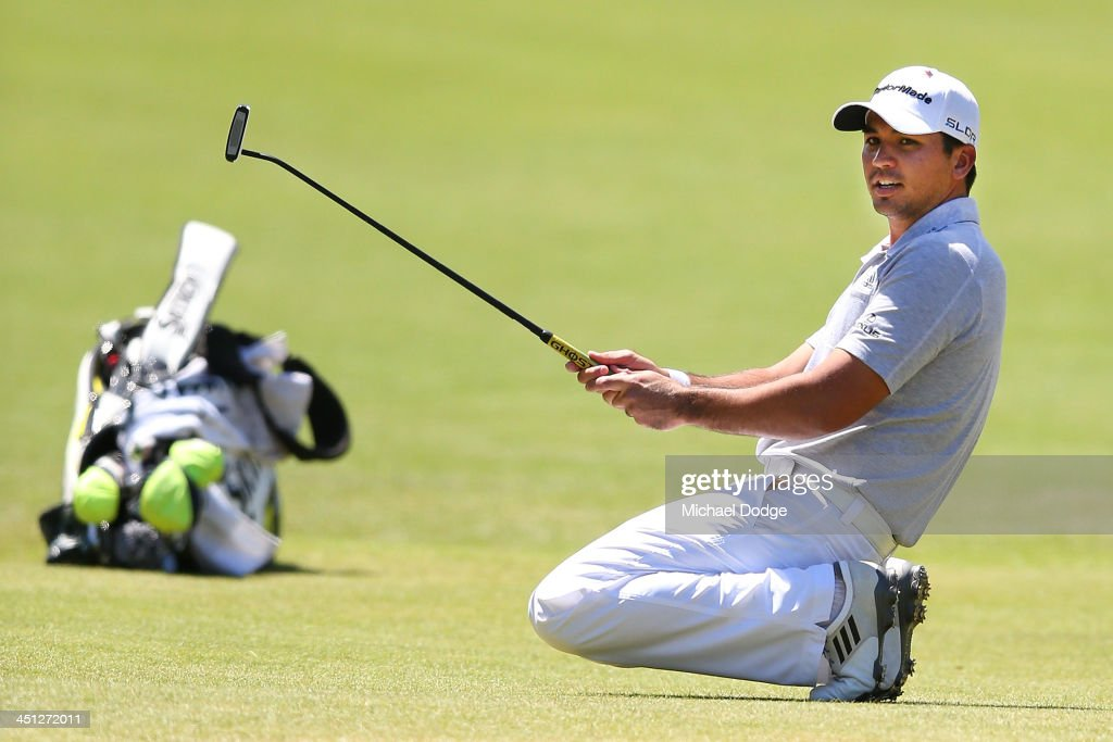 <a gi-track='captionPersonalityLinkClicked' href=/galleries/search?phrase=Jason+Day+-+Golfer&family=editorial&specificpeople=4534484 ng-click='$event.stopPropagation()'>Jason Day</a> of Australia reacts after missing a birdie putt on the 12th hole during day two of the World Cup of Golf at Royal Melbourne Golf Course on November 22, 2013 in Melbourne, Australia.