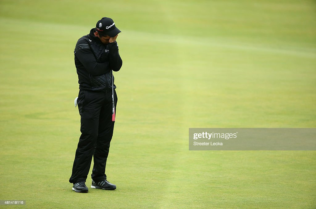 Jason Day of Australia reacts after missing his birdie putt on the 18th hole during the final round of the 144th Open Championship at The Old Course...