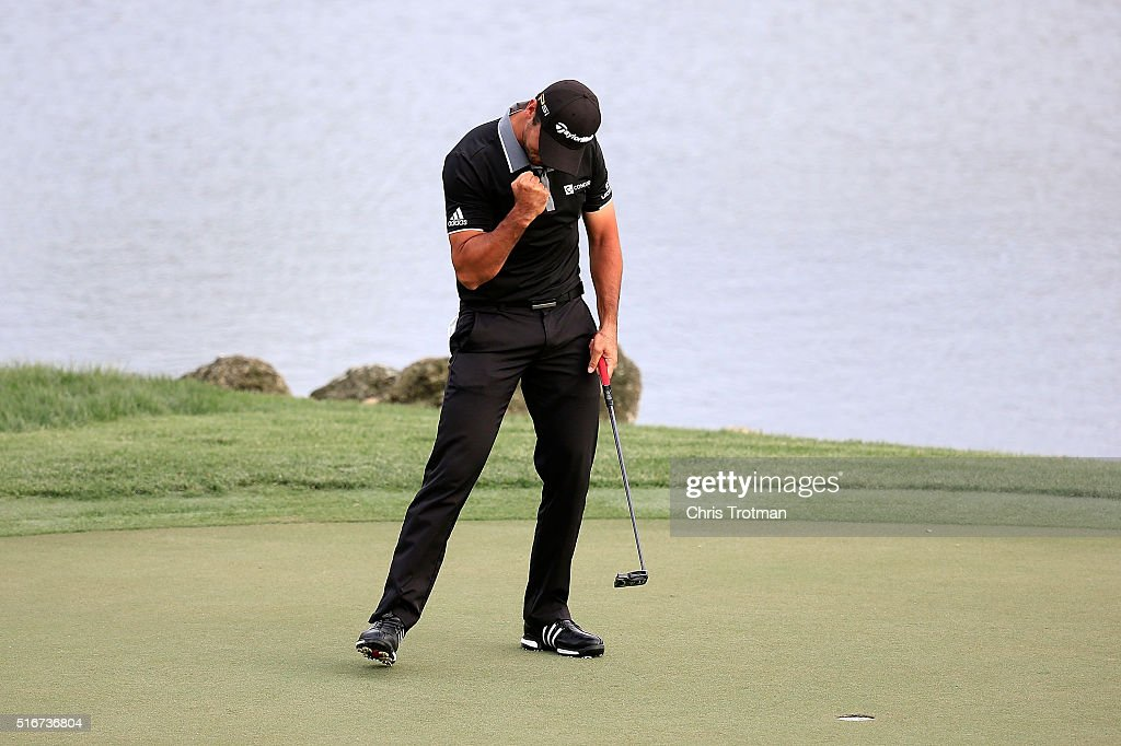 Jason Day of Australia reacts after winning the Arnold Palmer Invitational Presented by MasterCard at Bay Hill Club and Lodge on March 20, 2016 in Orlando, Florida.