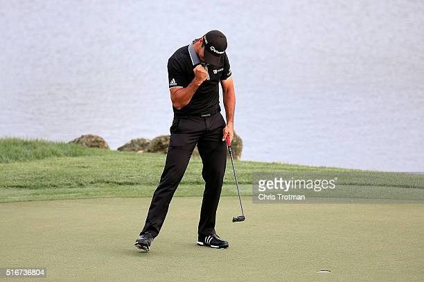 Jason Day of Australia reacts after winning the Arnold Palmer Invitational Presented by MasterCard at Bay Hill Club and Lodge on March 20 2016 in...
