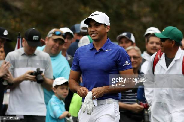 Jason Day of Australia reacts during a practice round prior to the start of the 2017 Masters Tournament at Augusta National Golf Club on April 3 2017...