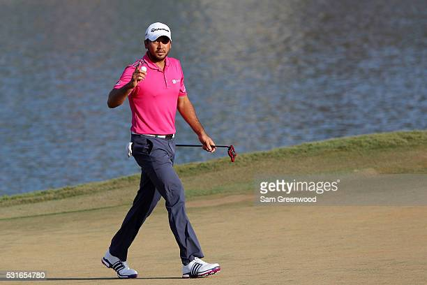 Jason Day of Australia reacts during the final round of THE PLAYERS Championship at the Stadium course at TPC Sawgrass on May 15 2016 in Ponte Vedra...