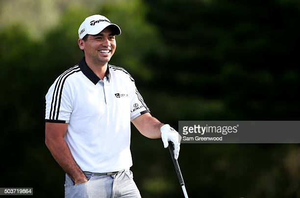 Jason Day of Australia reacts during the Hyundai Tournament of Champions ProAm at the Plantation Course at Kapalua Golf Club on January 6 2016 in...