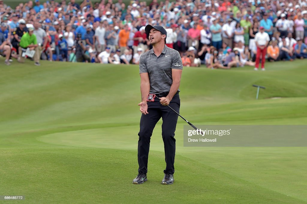 Jason Day of Australia reacts to a missed putt in a playoff against Billy Horschel on the 18th hole during the Final Round of the AT&T Byron Nelson at the TPC Four Seasons Resort Las Colinas on May 21, 2017 in Irving, Texas.