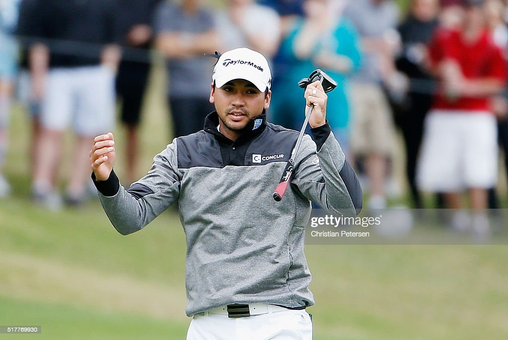 Jason Day of Australia reacts to a missed putt on the ninth hole during his semifinal match with Rory McIlroy at the World Golf ChampionshipsDell...
