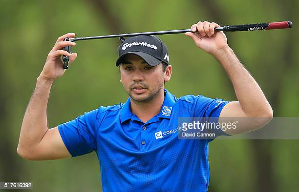 Jason Day of Australia reacts to a missed putt on the seventh green during the round of 16 in the World Golf ChampionshipsDell Match Play at the...