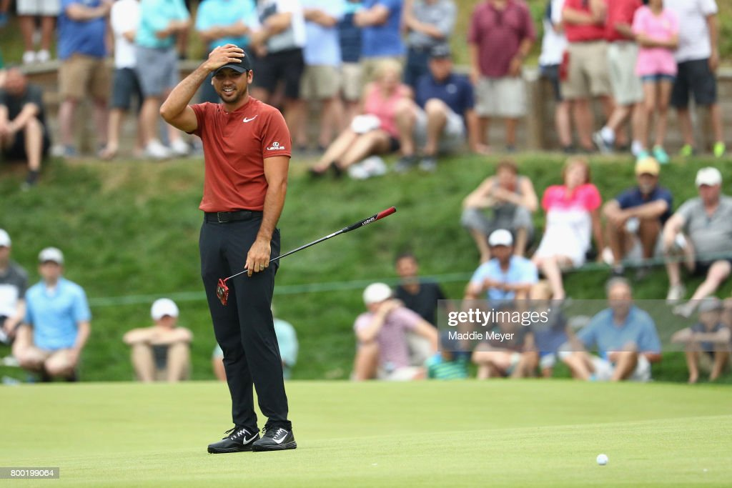 Jason Day of Australia reacts to a putt on the 15th green during the second round of the Travelers Championship at TPC River Highlands on June 23, 2017 in Cromwell, Connecticut.
