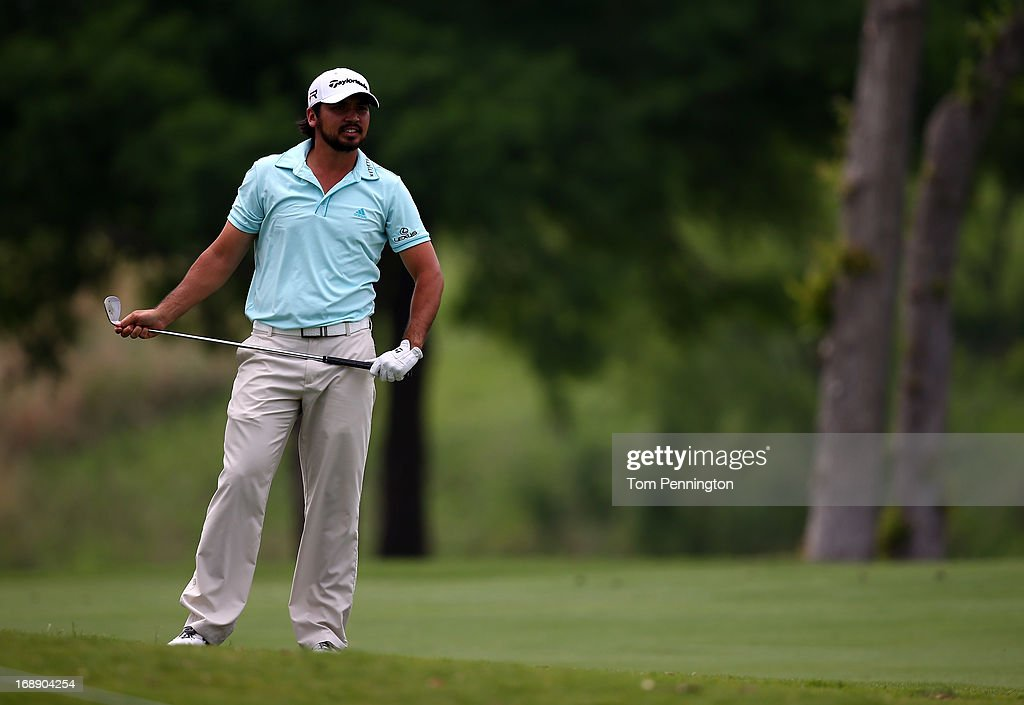 Jason Day of Australia reacts to a shot during the first round of the 2013 HP Byron Nelson Championship at the TPC Four Seasons Resort on May 16, 2013 in Irving, Texas.