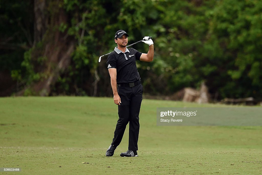 Jason Day of Australia reacts to a shot on the 16th hole during a continuation of the second round of the Zurich Classic at TPC Louisiana on April 30, 2016 in Avondale, Louisiana.
