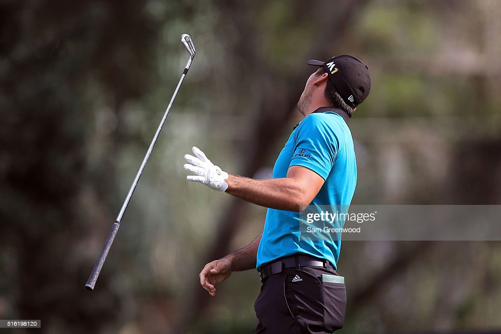 <a gi-track='captionPersonalityLinkClicked' href=/galleries/search?phrase=Jason+Day+-+Golfer&family=editorial&specificpeople=4534484 ng-click='$event.stopPropagation()'>Jason Day</a> of Australia reacts to a shot on the 16th hole during the first round of the Arnold Palmer Invitational Presented by MasterCard at Bay Hill Club and Lodge on March 17, 2016 in Orlando, Florida.