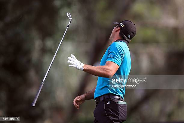 Jason Day of Australia reacts to a shot on the 16th hole during the first round of the Arnold Palmer Invitational Presented by MasterCard at Bay Hill...