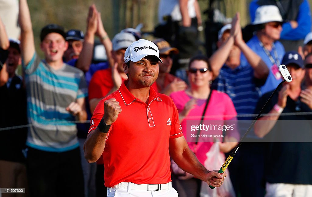 <a gi-track='captionPersonalityLinkClicked' href=/galleries/search?phrase=Jason+Day+-+Golfer&family=editorial&specificpeople=4534484 ng-click='$event.stopPropagation()'>Jason Day</a> of Australia reacts to defeating Victor Dubuisson of France on the 23rd hole during the final round of the World Golf Championships - Accenture Match Play Championship at The Golf Club at Dove Mountain on February 23, 2014 in Marana, Arizona.