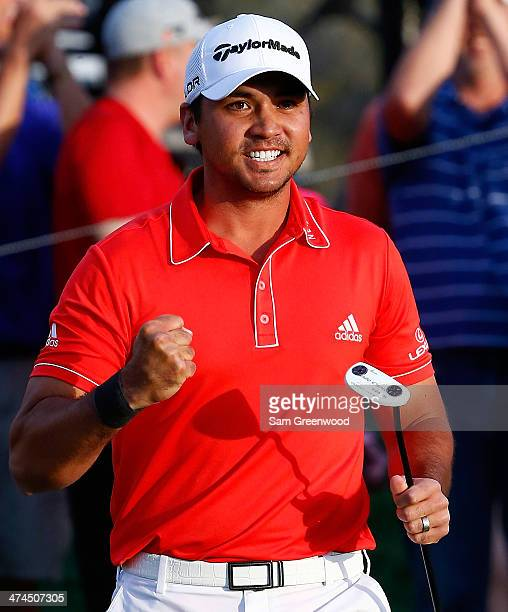 Jason Day of Australia reacts to defeating Victor Dubuisson of France on the 23rd hole during the final round of the World Golf Championships...
