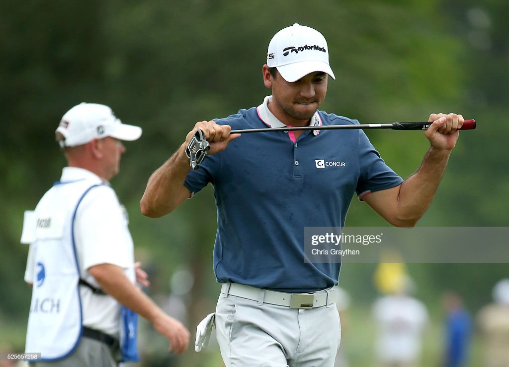 Jason Day of Australia reacts to his putt on the ninth hole during the first round of the Zurich Classic of New Orleans at TPC Louisiana on April 28, 2016 in Avondale, Louisiana.