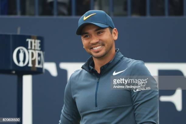 Jason Day of Australia smiles on the 1st tee during the third round of the 146th Open Championship at Royal Birkdale on July 22 2017 in Southport...