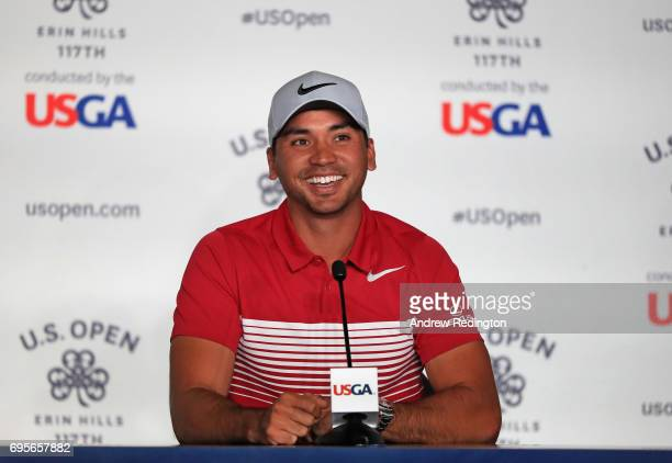 Jason Day of Australia speaks at a press conference during a practice round prior to the 2017 US Open at Erin Hills on June 13 2017 in Hartford...