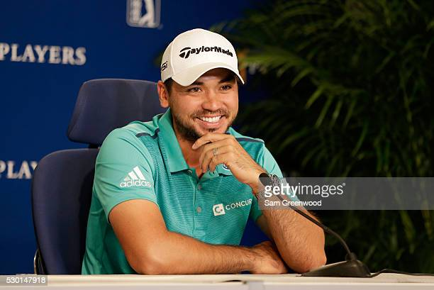 Jason Day of Australia speaks to the media during a press conference prior to the start of THE PLAYERS Championship on the TPC Stadium course on May...