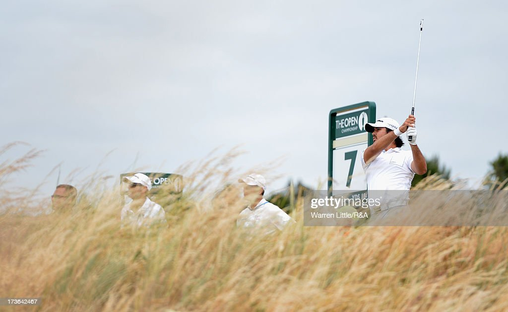 <a gi-track='captionPersonalityLinkClicked' href=/galleries/search?phrase=Jason+Day+-+Golfspelare&family=editorial&specificpeople=4534484 ng-click='$event.stopPropagation()'>Jason Day</a> of Australia tees off ahead of the 142nd Open Championship at Muirfield on July 16, 2013 in Gullane, Scotland.