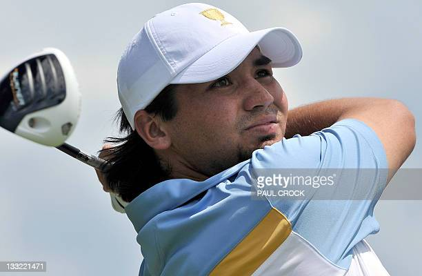 Jason Day of Australia tees off during the President's Cup golf tournament at the Royal Melbourne golf course in Melbourne on November 18 2011 A...