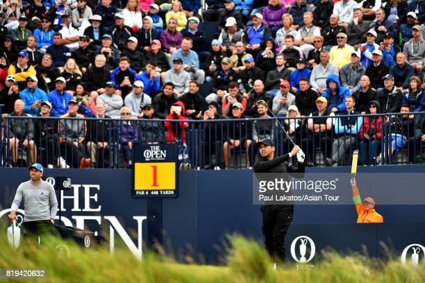 Jason Day of Australia tees off on hole 1 at Royal Birkdale on July 20 2017 in Southport England