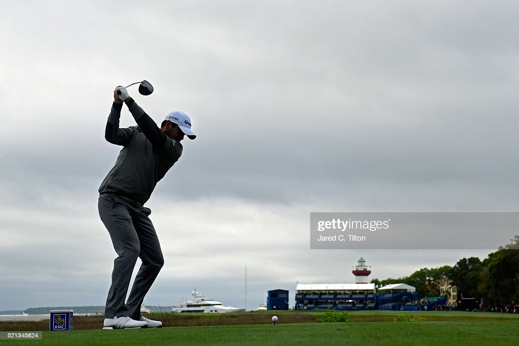 Jason Day of Australia tees off on the 18th hole during the second round of the 2016 RBC Heritage at Harbour Town Golf Links on April 15, 2016 in Hilton Head Island, South Carolina.