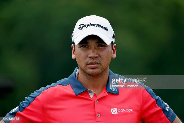Jason Day of Australia waits on the practice range during a practice round prior to the US Open at Oakmont Country Club on June 15 2016 in Oakmont...