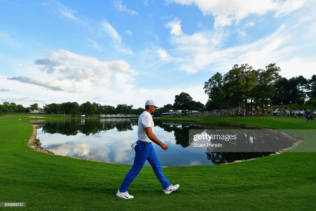 Jason Day of Australia walks along the 17th hole during the third round of the 2017 PGA Championship at Quail Hollow Club on August 12, 2017 in Charlotte, North Carolina.