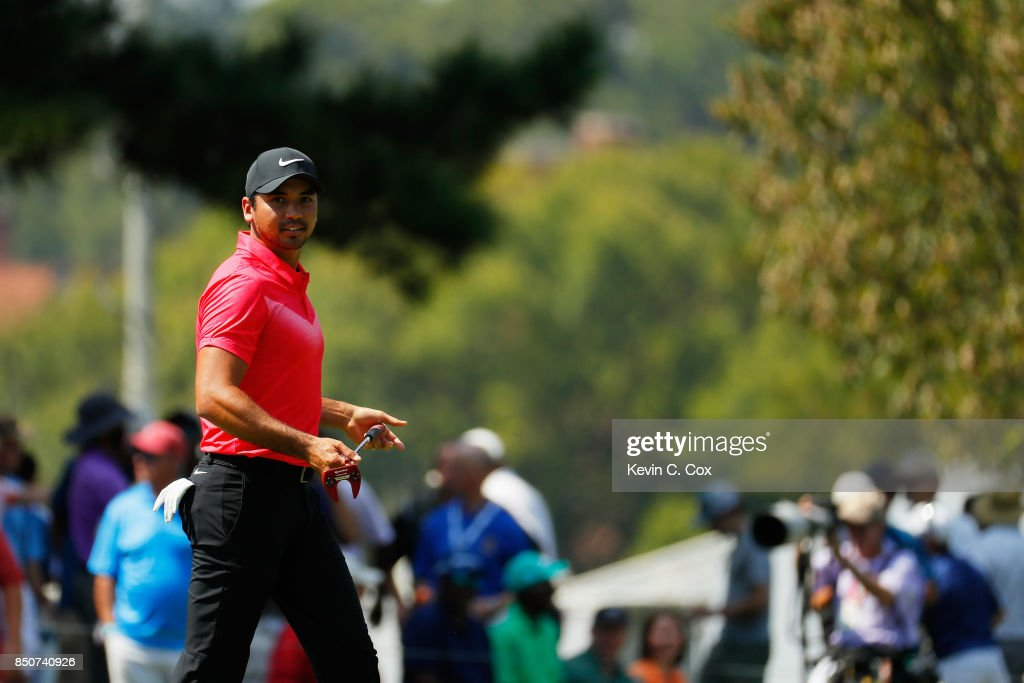 Jason Day of Australia walks on the first green during the first round of the TOUR Championship at East Lake Golf Club on September 21, 2017 in Atlanta, Georgia.