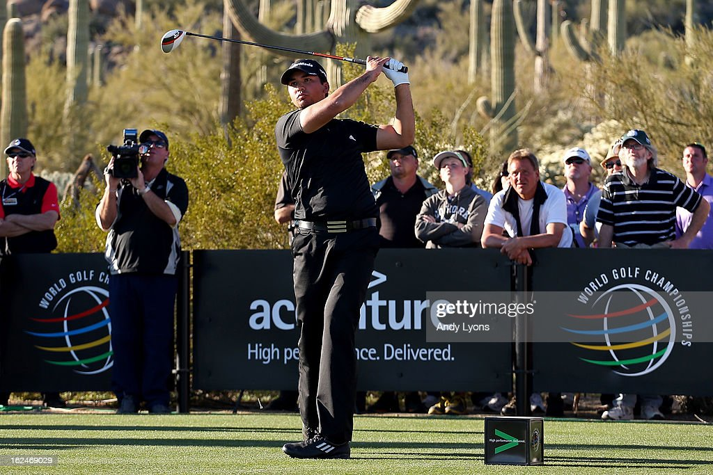 Jason Day of Australia watches his tee shot on the 17th hole during the quarterfinal round of the World Golf Championships - Accenture Match Play at the Golf Club at Dove Mountain on February 23, 2013 in Marana, Arizona.