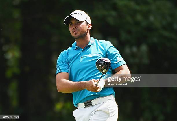 Jason Day of Australia watches his tee shot on the fifth hole during the third round of The Barclays at Plainfield Country Club on August 29 2015 in...