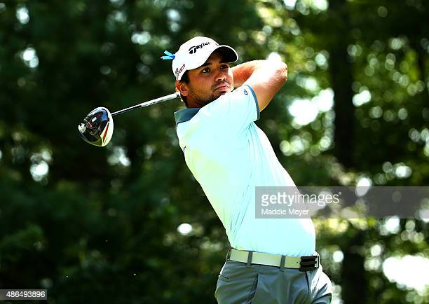 Jason Day of Australia watches his tee shot on the nineth hole during round one of the Deutsche Bank Championship at TPC Boston on September 4 2015...