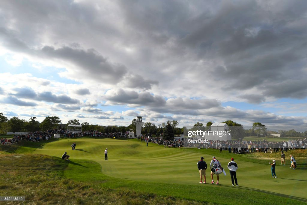 Jason Day of the International Team plays a shot on the 17th hole during the afternoon four-ball matches at the Presidents Cup at Liberty National Golf Club on September 30, 2017, in Jersey City, New Jersey.